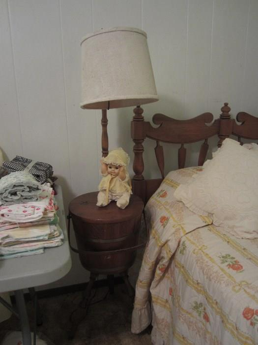 1963 Sleepy Eyed Baby Doll, Sewing Bucket And Lamp Combination