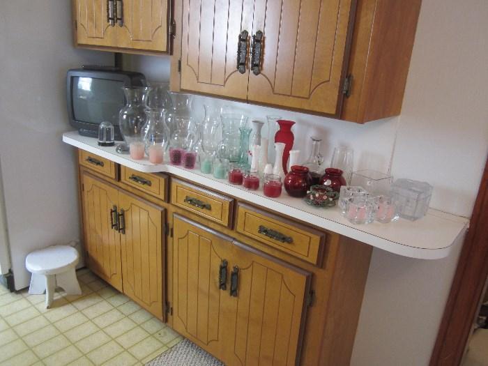 TV, Vintage Milking Stool, Vases, Candles