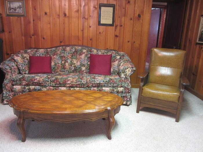 Nice Couch, Coffee Table and Chair.  Also In This Room Are A Recliner And Sitting Swivel Upholstered Chair.