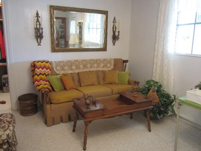 Early American Couch, Coffee Table, Etc