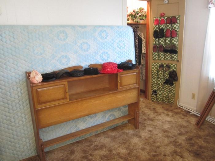 Vintage Hats (Same Bed and Headboard as in previous picture, just taken apart)  There are Sheets, Towels, and Purses.  We even have a Coach Purse!