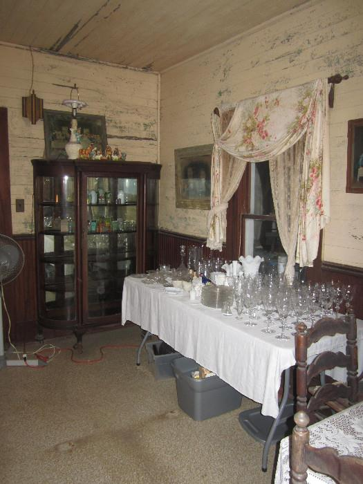 Beautiful China Curved Cabinet and other collectibles: Belleck, Lovely Glass Basket, Beautiful Crystal