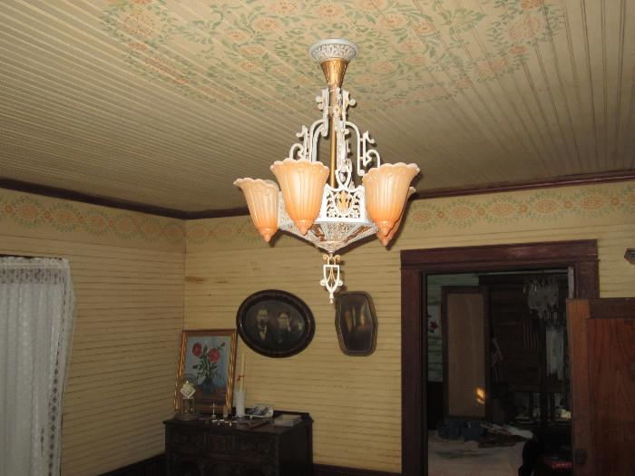 Beautiful Slip Cover Chandelier.  This fixture will be in use during the sale.  It can be taken down after the close of the sale at an prearranged time.