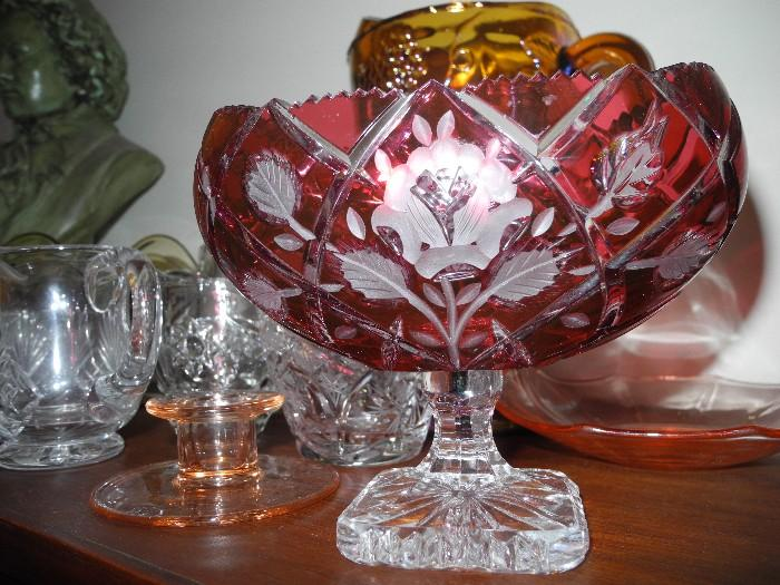Gorgeous oval compote, Czech/Bohemian cut to clear!