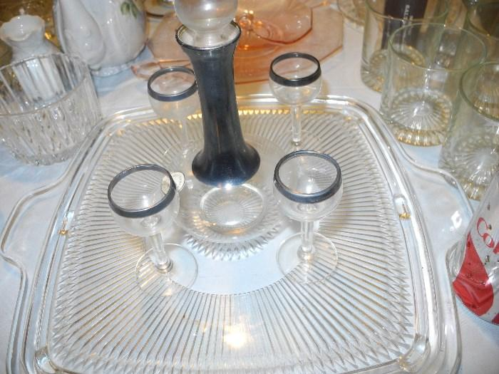 Sterling and crystal cordial set