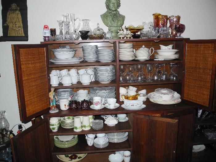Only a portion of the china sets here!