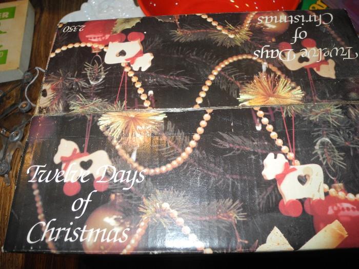 Full set of 12 days of Christmas glassware