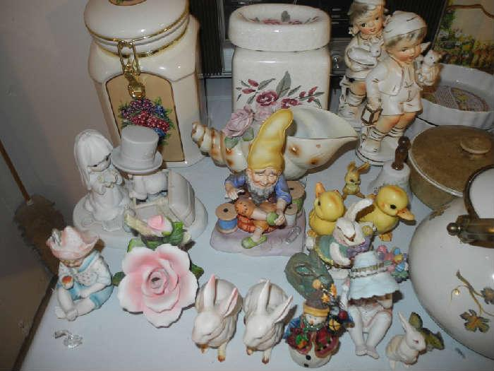 Cute figurines....Lefton gnome, Precious Moments bride and groom, Willow Tree and more....