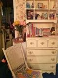 wicker rocker and chest/shelf unit