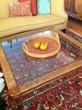 glass top table reveals beautiful rug