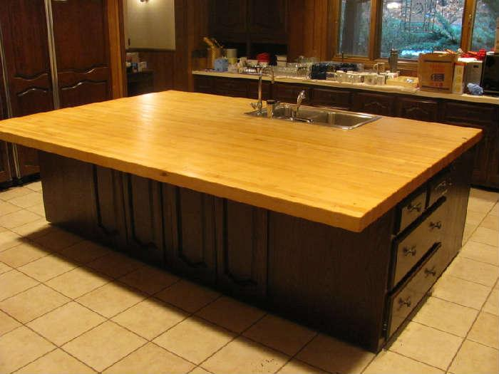 Massive kitchen butcher block top island-- approx. 6' x 9'