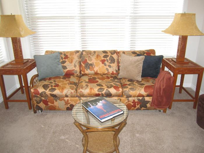 This sleeper sofa couch is lovely.  In Mint condition and sits very well.  The end tables and lamps are carved wood from Japan.  They are also in mint condition.