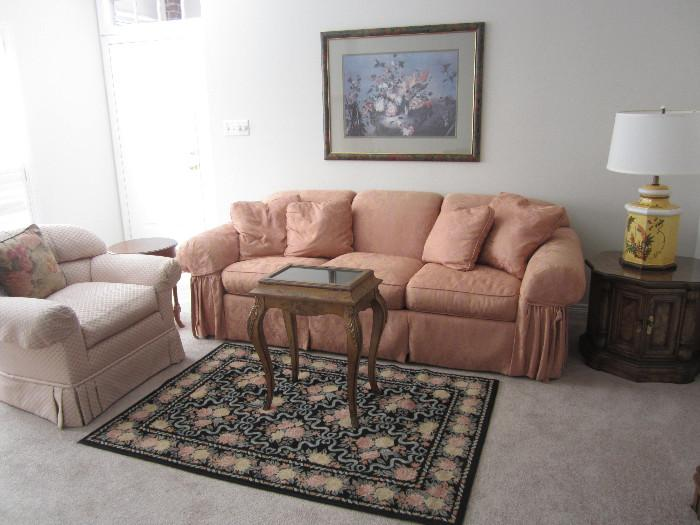 Drexel Heritage Down Couch and Chair. Pretty Display Case, Accent Table, Rug and Lamp