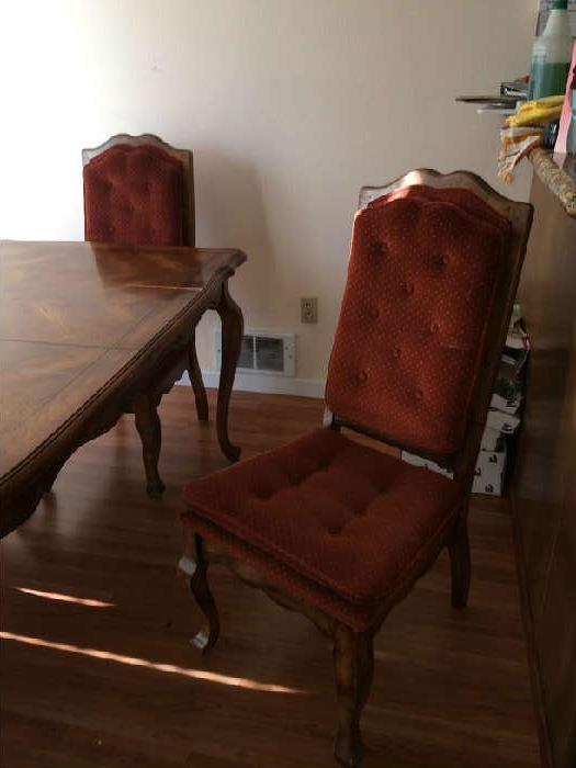 Mid-century dining set. 6 chairs, 2 extentions