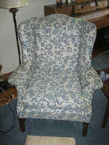 Wing Chair Faux Crewel