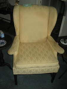 Wing Chair Gold Fabric