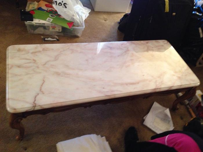 marble top french provencial coffee table