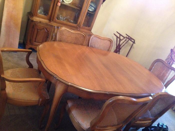 french provincial dining table and china cabinet, there is a server/chest  you will see in another photo