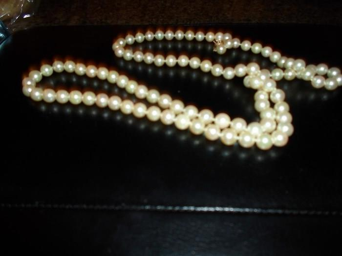 "36 3/4"" long, 100 round real pearls w/14K clasp, have recent appraisal on this item"