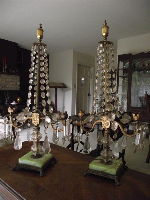 Pair Bronze Candelabrum with Marble Base, Brass and Crystals