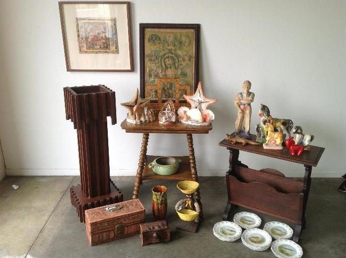 Vintage Chalk ware,  Antique plant stand , magazine rack, bottle cap man, Bavarian trout plates, Old fishing tackle box, Exene collage, old frame and mid century starfish lamps , Waller pottery