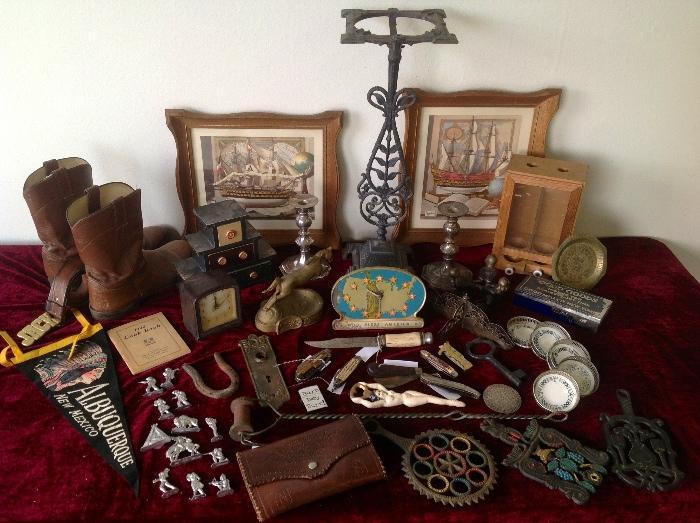 God Bless America old clock, Justin boots, JACK vintage belt, Ornate ashtray stand , old metal Indian toys, handmade knives, nudie bottle opener, old candle holders