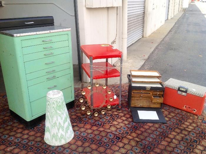 Great 8 drawer metal cabinet, 1920s rug, red metal kitchen cart, antique dental cabinet and old cooler