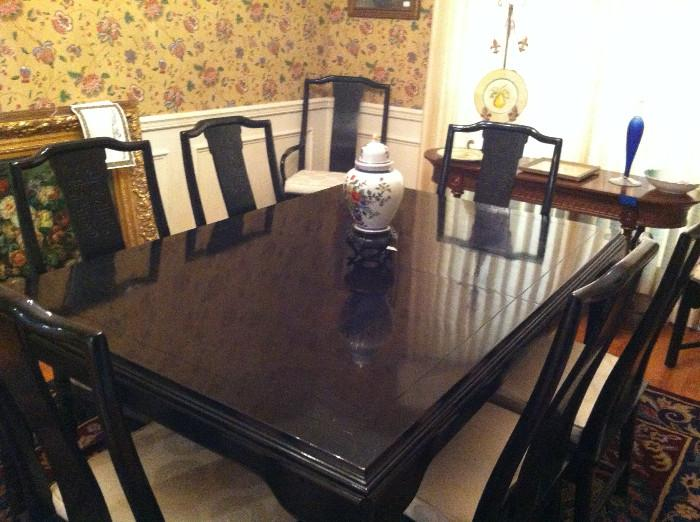 Large black Drexel oriental table/10 chairs