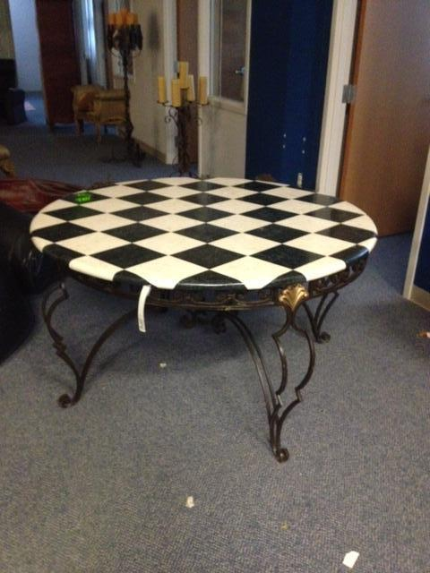 beautifully checkered mosaic tabletop on iron base by Sarreid