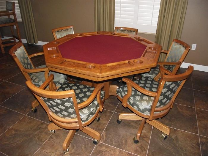 Solid Oak 2-sided Game Table. Custom Upholstered Oak Chairs on Casters.