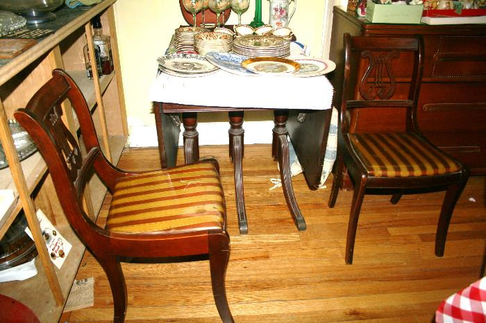 Gorgeous Drop-Leaf Table with 2 Lyre-Back Chairs