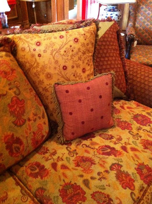 many cushions to match the sofa