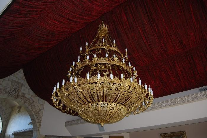 72 CANDLE CHANDELIER ( COPY OF ONE FROM THE CZAR'S PALACE IN ST. PETERSBURG ) 6' DIAMETER - 8' HEIGHT