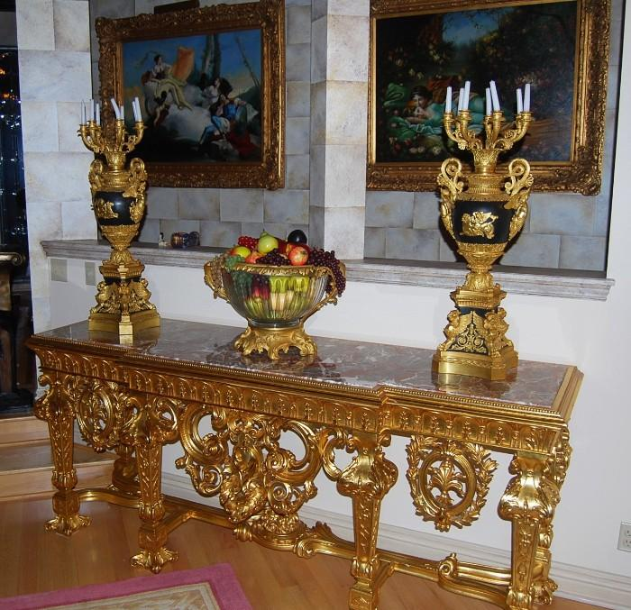 MARBLE TOP CONSOLE TABLE - BRONZE AND MARBLE URNS WITH CANDELABRAS