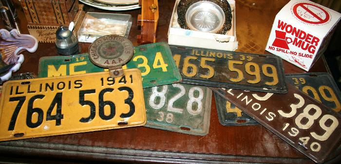 License plates in living room