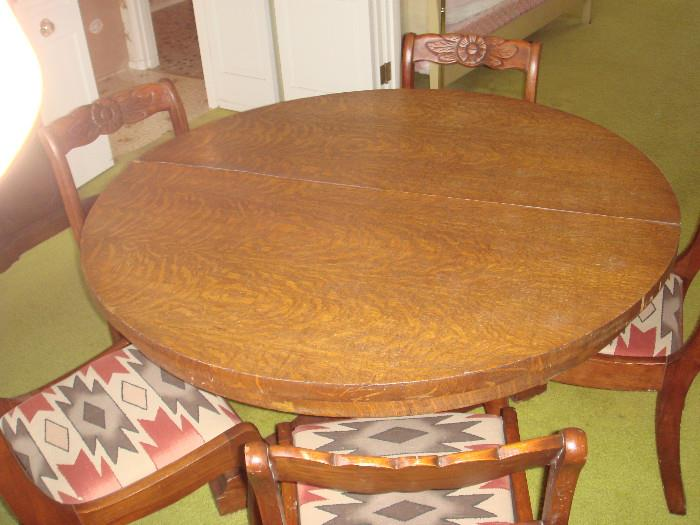 solid wood round dining table with chairs