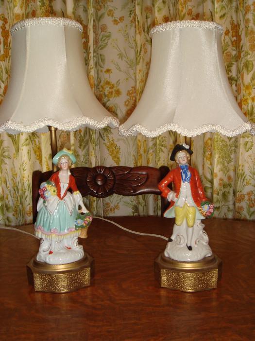 vintage antique lamps colonial Victorian