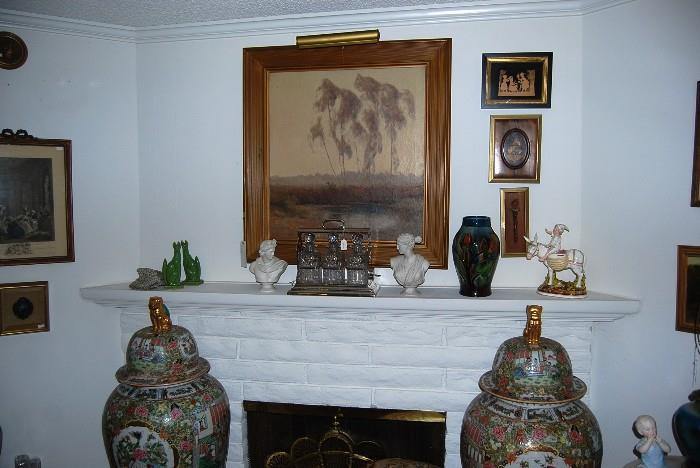 GUISEPPE CADENASSO PAINTING - A SILVER PLATE TANTALUS & SOME LARGE COVERED ROSE MEDALLION URNS
