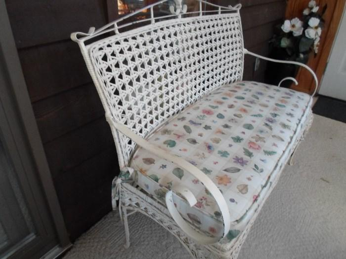 love this wicker & metal bench