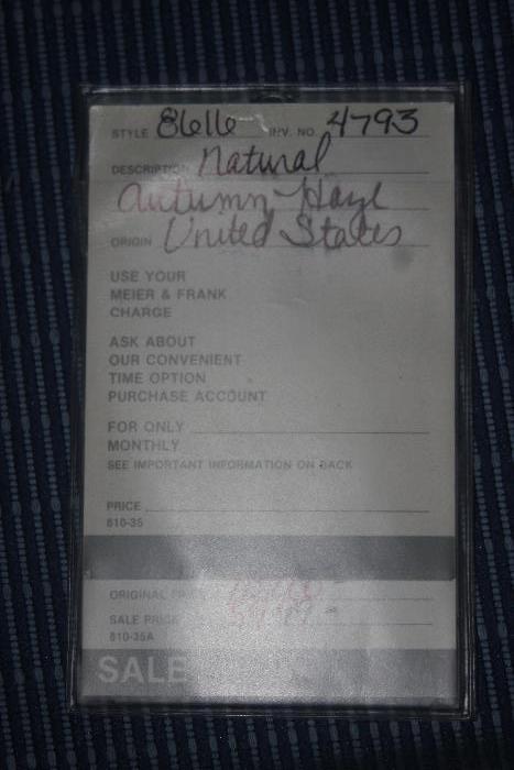 original purchase tag for fur coat