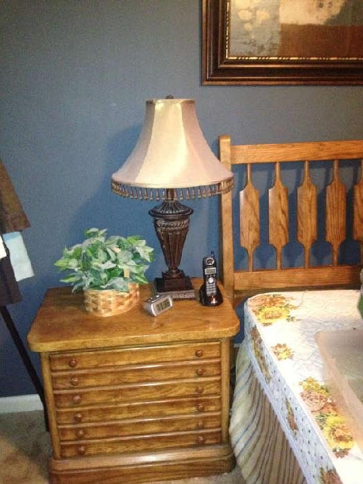 bedside table and stanley headboard and frame