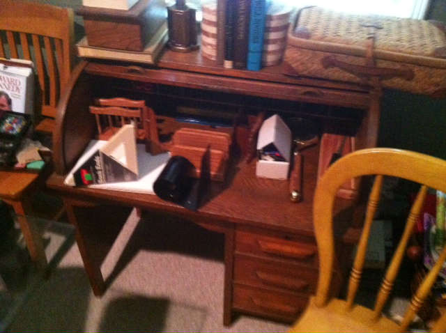 Antique child's roll top desk