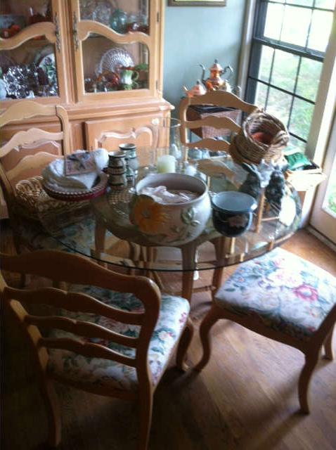Pickled or whitewashed china cabinet, pedestal table and chairs, and secretary