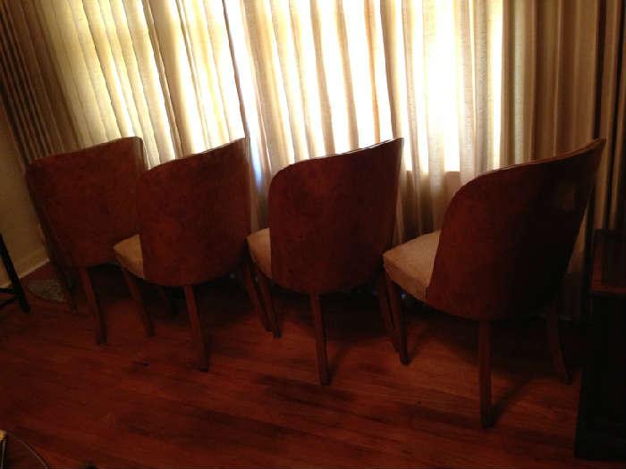 beautiful barrel back mod century Italian chairs, set of four