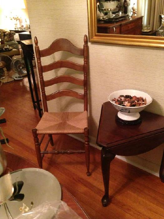 set of ladder back chairs, and triangular drop leaf table