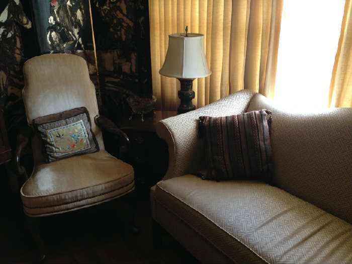 One of a pair of chairs, and a chippendale sofa