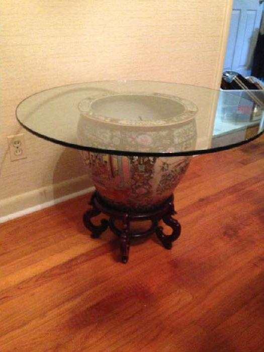 Chinese fish bowl/table with half inch glass top and stand