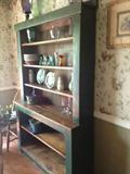 DARLING STAINED AND GREEN PAINTED HUTCH/SHELF