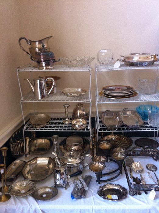 Sterling & silver plate serving pieces