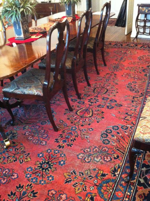 Outstanding dining table with 12 chairs/1 of many exquisite rugs
